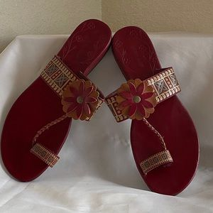 Montego Bay Club Women's Red Toe Sandal